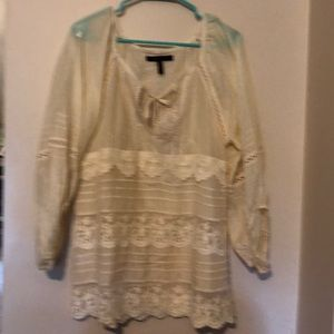 Cotton silk long sleeve lace